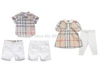 2015 New Summer Short Sleeve Baby 2pcs Clothing Sets Boy Plaid Shirt+White Short Pants Girl's Blouse +White Cotton Legging 6sets