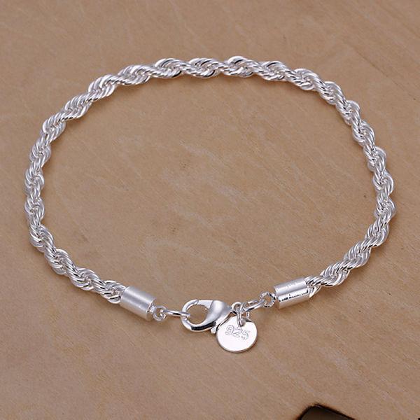 Free Shipping Jewelry 925 Silver Bracelet 925 Silver Rope Chain Bracelet Fashion Bracelet Twisted Singapore Chain Bracelet CH207(China (Mainland))