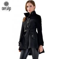 OASAP New Casacos Femininos Women Long Sleeves Edgy Black High-Low Asymmetrical Woolen Coat Winter Slim Coat