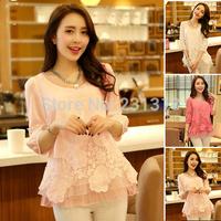 Novo 2015 casual manga curta mulheres chiffon peplum blusas camisas camisas roupas femininas blusas roupas WL2226