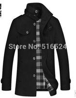 Drop Shipping 2014 Winter Collar Men Short Paragraph Woolen Jackets Collar Wool Winter Coat Male Business Trench Jackets
