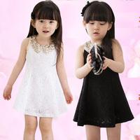 White/black Kids Summer Dress Korean Chiffon Vest Casual Girl Dress Lace Sleeveless Princess Baby Girl Clothing Set RO014