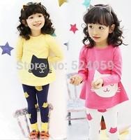 2015 NEW  Children spring+autumn 2pcs clothing Set ,kids girls Cute Cat clothing  baby girls Clothing sets shirt +pants RO013
