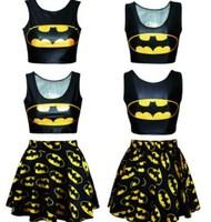 2015 New 2 Piece Set Women Two Piece Outfits Crop Top And Skirt Set     Batman        Conjunto Saia E Blusa Sports Costumes