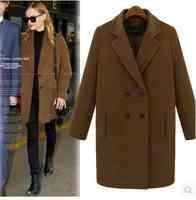 Free Shipping in spring wool woolen cloth coat long coat suit neck coat 20151242984