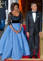 Free Shipping Ball Gown Half Sleeve Scoop Neckline Empire Elegant Black Lace Blue Michelle Obama Formal Celebrity Dresses