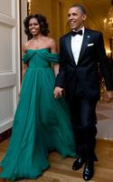 Free Shipping Sleeveless Off Shoulder Scoop Pleated Green Chiffon Vestido Celebridades Michelle Obama Celebrity Dresses