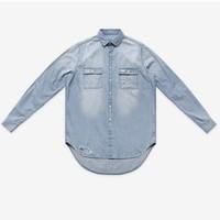 Super fashion mens jeans long sleeve shirts denim loose men's shirts hip hop casual Distrressed shirts size S/M/L/XXL