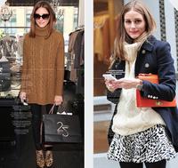 Long sweater women high collar hedging loose thickening retro twist primer shirt Sweater