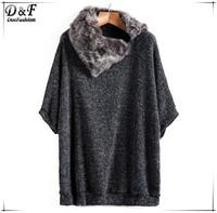 Womens Fashion Fur Collar Knitting Pullovers 2015 Spring Desigual Dark Grey Three Quarter Length Sleeve Loose Knit Sweater