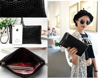 Free shipping 2015 New Fashion brand long women's black zipper wallet women leather purse handbags carteira feminina day clutch