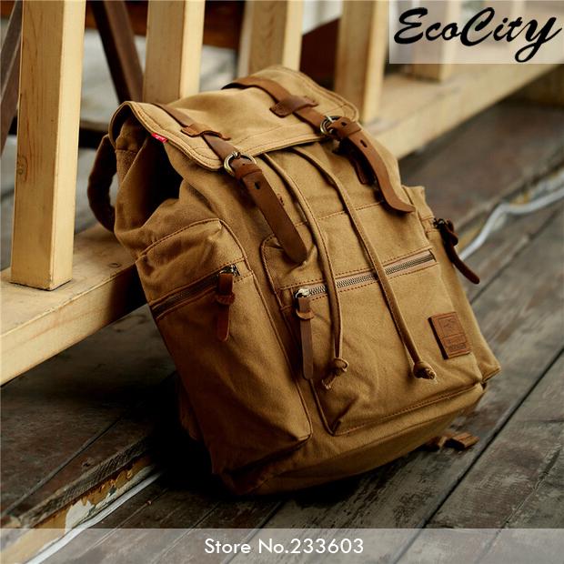 Genuine Leather Canvas Backpack Men,Military Tactical Backpack,Girls Vintage School Backpack,Women Laptop Backpack Bag,Rucksack(China (Mainland))