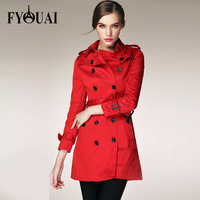 FYOUAI NEW Fashion Bard Spring Autumn Women TrenchCotton Casual Women Coat High Quality European Style Sexy woman