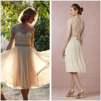 Sheer 2015 Beach Lace O-neck Ivory Long Sleeve Knee Length Short Bridal Wedding Dresses Gowns Cheap