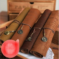 Korea style stationery retro pirate treasure map imitation leather pencil pen roll also can do it as a Makeup pencil bag