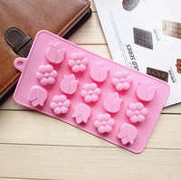New Silicone 15 Tulip Flower Chocolate Mold Ice Jelly Cake Decorating Bakeware Soap Kitchen Cooking Cake Tools Dessert Mould