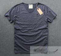 Alll saints water wash retro finishing V-neck fashion 100% cotton short-sleeve T-shirt
