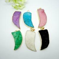 8pcs Wholesale Jewelry Fashion Nature Druzy Crystal stone Quartz Drusy gem stone Pendant Mix color(buyer can choose color