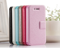 Silk Leather PU Card Slot Wallet Flip Stand Holder Case For Iphone 4/4S