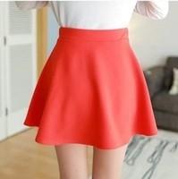2015 Spring Summer Women Skirt Candy Color Puff Pleated Skirt  FashionHigh Waist Short Skirt High Quality