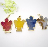 5pcs Wholesale Good Quality Jewelry Fashion Natural stone Agate Quartz Angel Pendant For Making Mix color(buyer can choose color