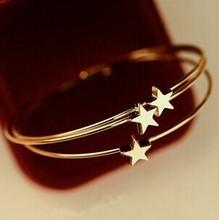 Gold  pentagram  cuff bracelets bangles/korean luxury strass hand chain/pulsera mujer/pulseiras femininas/brazalete/female/gift