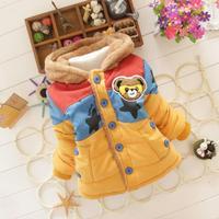 2014 Autumn Winter Coats Jackets For Children Baby Outerwear Striped Cartoon Bear Thick Fleece Hooded winter velvet padded coat