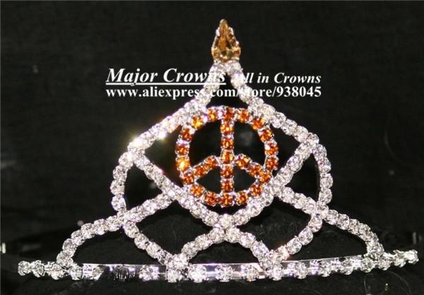Custom Made Color Pageant Crown Tiara of Peace Symbol AL002 Gold(China (Mainland))