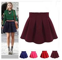 2015 Women Elastic Pleated Skirt Spring Autumn Short Skirt High Waist Plus Size Skirt Female Fashion