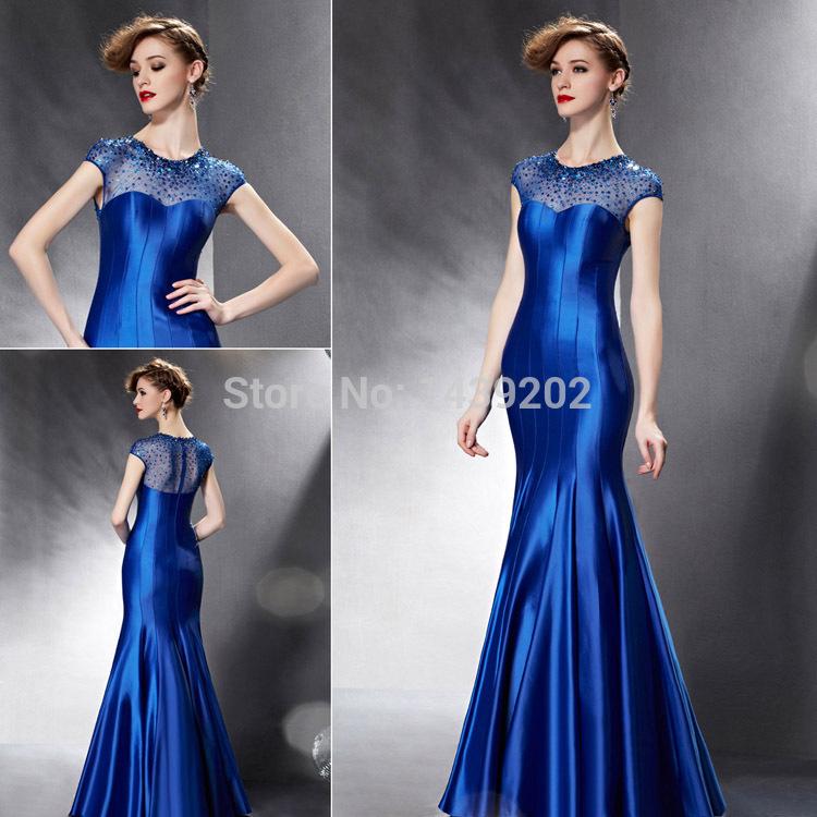 2015 New Beading Mermaid Royal Blue Long Evening Dresses Ready to Ship M-8280(China (Mainland))