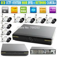 Free Shipping CCTV System 8ch CCTV DVR Recroder 960h Full D1 recording 900TVL Waterproof IR Camera 1000tvl DVR Kit