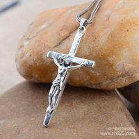 Black silver jewelry wholesale 925 sterling silver jewelry silver man Jesus cross Vintage Pendant 024577w