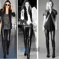 Womens High Waist Stretch Skinny Shiny PU leather Leggings Pants Slim Trousers Free Shipping