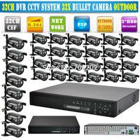 Free Shipping 1000tvl 32 CH CCTV System 32CH CCTV DVR 960h DVR 1000 TVL Waterproof IR Mini Security Camera DVR Kit