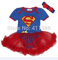 SR025  Free shipping princess Superman short sleeve baby girls dress summer cotton baby romper  retail