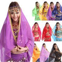Belly Dance Chiffon Big Veil Shawl Skirt Scarf Gypsy Tribal Gold Trim Headscarf  Free Shipping