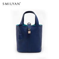 Smilyan Picotin Lock PM Basket Bag Togo Genuine Leather Desigual Handbag Casual Shopping Tote Bucket Bag Women Messenger Bags