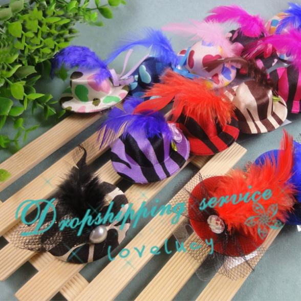 Cute Little Hat Hairpin Pet Caps Feather Hair Pet Accessory Dog Cat Headdress Free Shipping(China (Mainland))