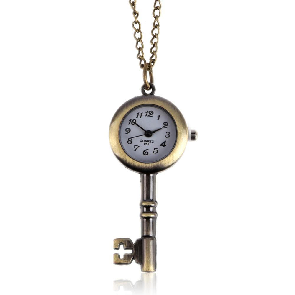 Hot new Chic Key Love Classic Fashion Quartz Pocket Watch Pendant Necklace Gift Free Shipping(China (Mainland))