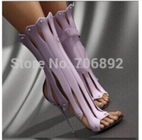 2015 sexy designer band summer bootie sandals open toe cut outs gladiator boots with high heel black leather strappy dress shoe