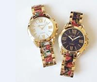 Top Quality 2015 Fashion Brand Women Lady Alloy Geneva Floral Flower Print Dress Watches Japan Quartz Movt Watch Wristwatches