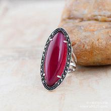 925 серебряные ювелирные изделия инкрустированные серебра год сбора винограда марказит элегантный женский красный корунд кольцо xh044113