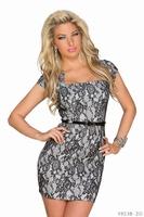 Peplum Dress Short Sleeve New Fashion Office Lady Work Wear with Belt Floar Lace Printed Slim Bodycon Dress for Women