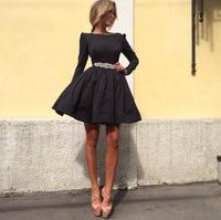 New 2015 Spring summer Women Fashion A-line elegant dress O-neck full sleeve casual Office dress black purple Vestidos de festa