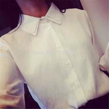 2015 new free shipping spring basic shirt slim brief double layer turn-down collar long-sleeve shirt white female(China (Mainland))