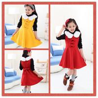 4pcs/lot New Fashion Winter Red Rose Yellow Girls Dresses White Collar Teenage Dresses 120-150cm Free Shipping DA590