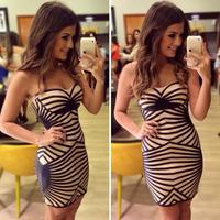 2015 New Fashion Bandage Dress patchwork stripe one-piece dress women summer dress evening party dress