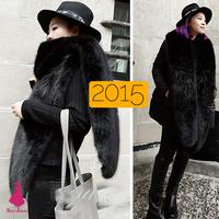 2015 New Fashion Winter Ladies Fur Scarf Fox Fur Collar Faux Fur Shawl Cap Raccoon Wool Scarves False Collar For Women Black