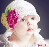 Very beautiful Infant baby girls warm flowers handmade hat knitted hat children hat