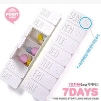 Free Shipping 7 Lattice Splitters Tablet Week Pill Cases Holder Medicine Storage Case Lc-13061503